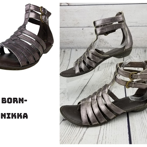 af8902d7969e Born Shoes - Born Nikka Pewter Gladiator Sandals Leather 8